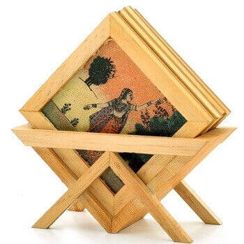Picture of Wooden gemstone coaster with stand