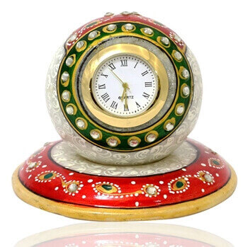 Picture of Marble paperweight style clock with beautiful meena work