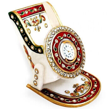 Picture of Marble with Meenakari Mobile Stand with Clock