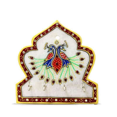 Picture of Handicraft Marble Peacock Four Key Stand
