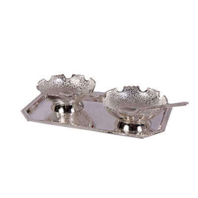 Picture of German Silver 2 Bowl Set with Spoons & Serving Tray
