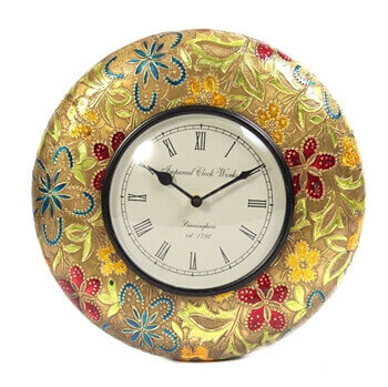 Picture of Wooden and brass colorful wall clock