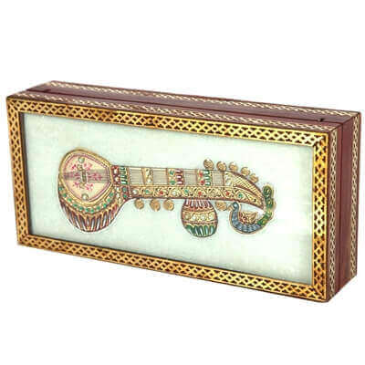 Picture of Marble jewellery box with sitar kundan musical instrument