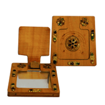 Picture of Square shaped wooden hand mirror