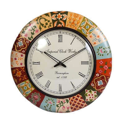 Picture of Round Shaped Wooden Wall Clock with Multicolor Border