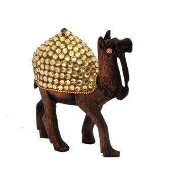 Picture of Antique Wooden Stone Studded Camel Figuring for Home Décor