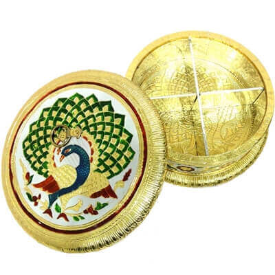 Picture of Golden, round shaped gift box with wooden base, brass cover and meena work