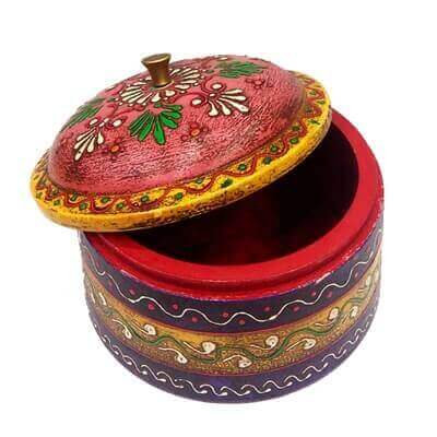 Picture of Wooden Dibbi with Embossed Work in Multi color