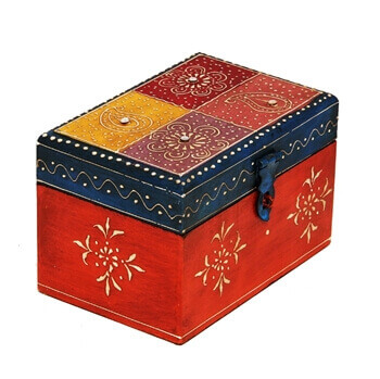 Picture of Handmade Multicolor Embossed Wooden Box