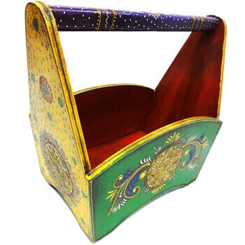 Picture of Colorful magazine holder crafted in wood