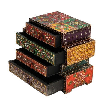 Picture of Wooden Embossed Multicolor Four Drawers Box