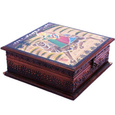 Picture of Wooden Box with Antique Carving and Camel Painting