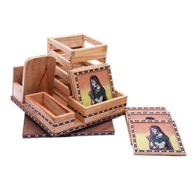 Picture of Traditional Wooden Office Set with Beautiful Tea Coaster