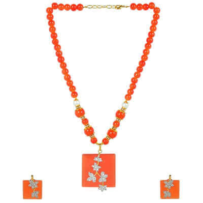 Picture of Monalisa orange pendent set