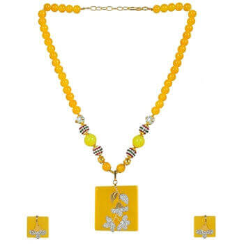 Picture of Monalisa yellow pendent set