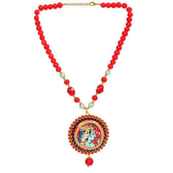 Picture of Radha krishna Red pendent set