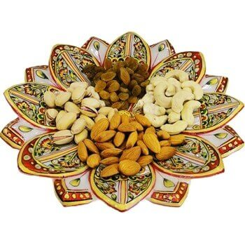 Picture of Lotus shaped marble tray with craft work