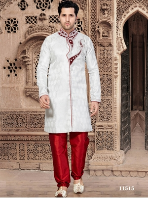 Picture of 11515 Off White and Maroon Mens Ethnic Wear Kurta Pyjama