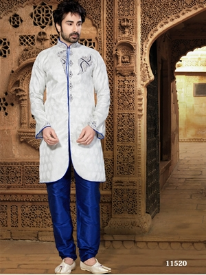 Picture of 11520 Off White and Royal Blue Mens Ethnic Wear Kurta Pyjama
