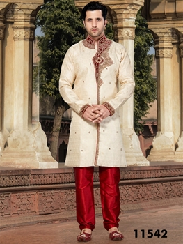 Picture of 11542 Cream and Maroon Mens Ethnic Wear Sherwani Suit