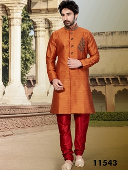 Picture of 11543 Rust and Maroon Mens Ethnic Wear Kurta Pyjama Suit