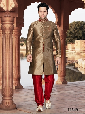 Picture of 11549 Copper and Maroon Mens Ethnic Wear Sherwani Suit