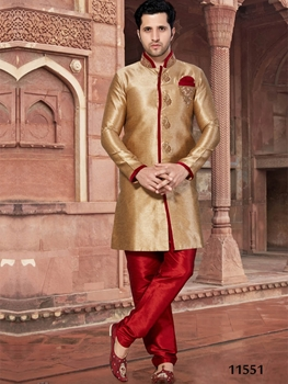 Picture of 11551 Chikoo and Maroon Mens Ethnic Wear Sherwani Suit