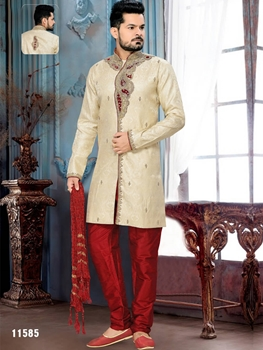 Picture of 11585 Gold and Maroon Mens Ethnic Wear Sherwani Suit
