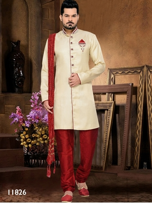 Picture of 11826 Gold and Maroon Mens Ethnic Wear Sherwani Suit