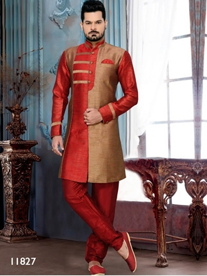 Picture of 11827 Copper and Maroon Mens Ethnic Wear Sherwani Suit