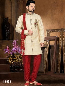 Picture of 11831 Gold and Maroon Mens Ethnic Wear Sherwani Suit