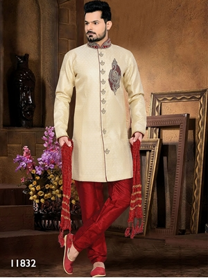 Picture of 11832 Gold and Maroon Mens Ethnic Wear Sherwani Suit