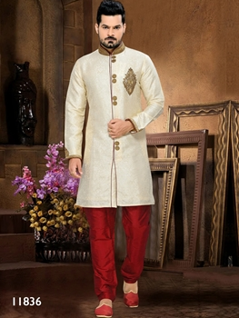 Picture of 11836 Gold and Maroon Mens Ethnic Wear Sherwani Suit