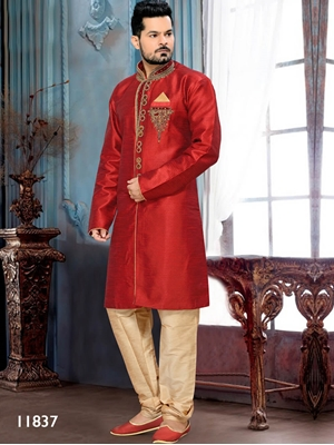 Picture of 11837 Maroon and Gold Mens Ethnic Wear Sherwani Suit