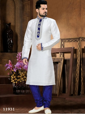 Picture of 11931 Off White and Royal Blue Mens Ethnic Wear Kurta Pyjama