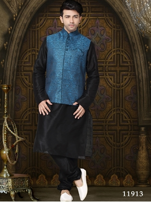 Picture of 11913 Black Mens Ethnic Wear Kurta Payjama with Jacket