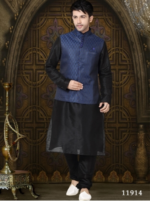 Picture of 11914 Black Mens Ethnic Wear Kurta Payjama with Jacket