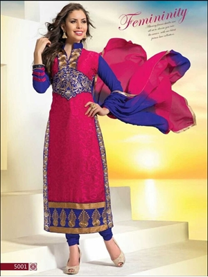 Picture of 5001Magenta and Blue Straight Suit