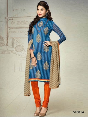 Picture of 51001A Blue Chanderi Chudidar Suit