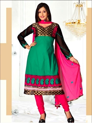 Picture of 8006Sea Green and Pink SemiAnarkali Suit