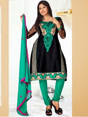 Picture of 8011Black and Sea Green SemiAnarkali Suit