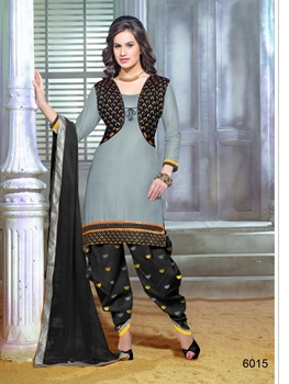 Picture of 6015Black and Gray Patiyala Suit