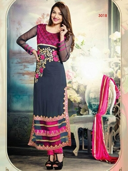 Picture of 3018 Black and Pink Straight Suit