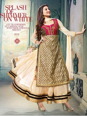 Picture of 3013 Light Peach and Red Lahenga Choli