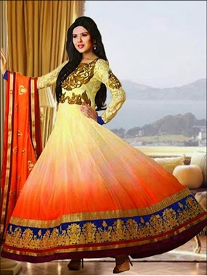 Picture of 07Ivory and Orange Anarkali Suit