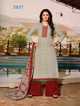 Picture of 3837White and Red Plazo Suit