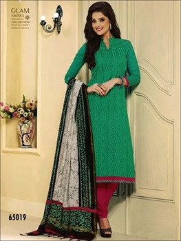 Picture of 65019Green and Dark Pink Chudidar Suit