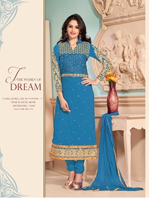 Picture of 34004Firozi Blue and Golden Straight Suit