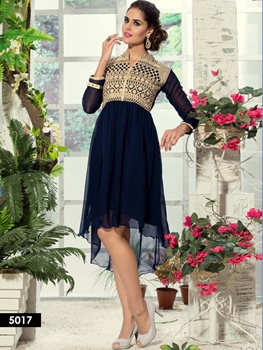 Picture of 5017 Midnight Blue Designer Embroidered Georgette Kurti