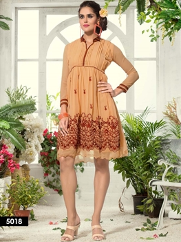 Picture of 5018 Sandy Brown Designer Embroidered Georgette kurti